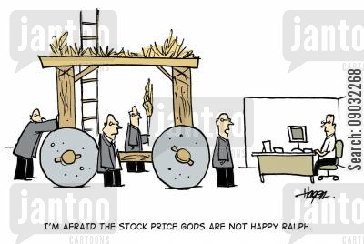 stock price cartoon humor: 'I'm afraid the stock price gods are not happy Ralph.'