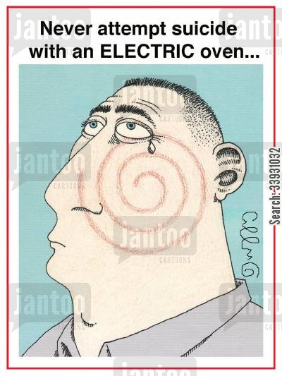 ovens cartoon humor: Never attempt suicide with an ELECTRIC oven...
