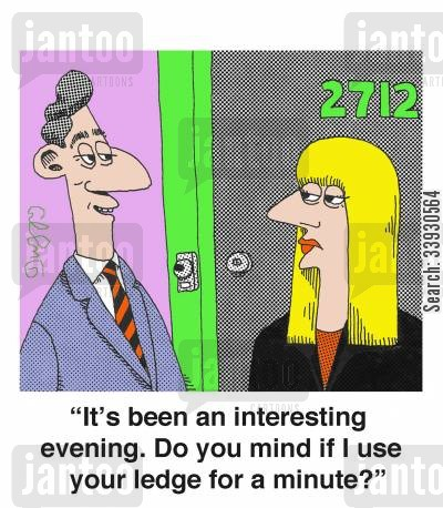 killing yourself cartoon humor: 'It's been an interesting evening. Do you mind if I use your ledge for a minute?'
