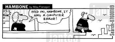 suidical cartoon humor: STRIP Hambone: Suicidal over computer error