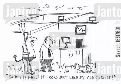 prince of darkness cartoon humor: 'So this is hell? It looks just like my old cubicle!'