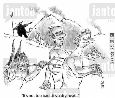 prince of darkness cartoon humor: 'It's not too bad... it's a dry heat...'