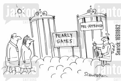 fast track cartoon humor: Pearly GatesPre-Approved.