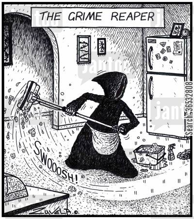 grime cartoon humor: The Grime Reaper.