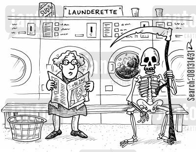 fabric care cartoon humor: Grim Reaper in launderette washing cloak.