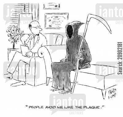 avoiding people cartoon humor: 'People avoid me like the plague.'