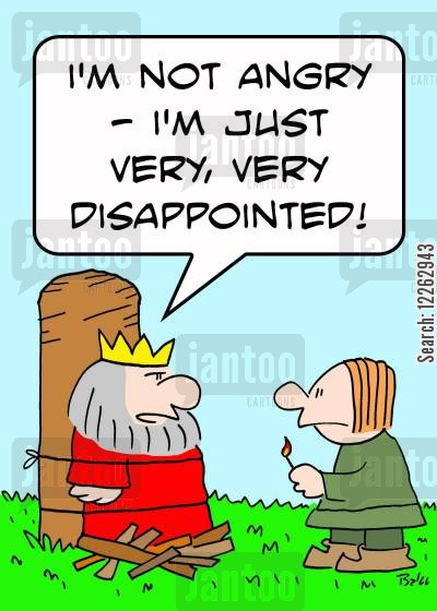 death penalities cartoon humor: 'I'm not angry -- I'm just very, very disappointed!'