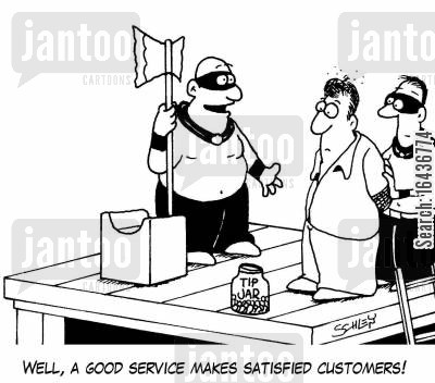 tip jars cartoon humor: 'Well, a good service makes satisfied customers!'