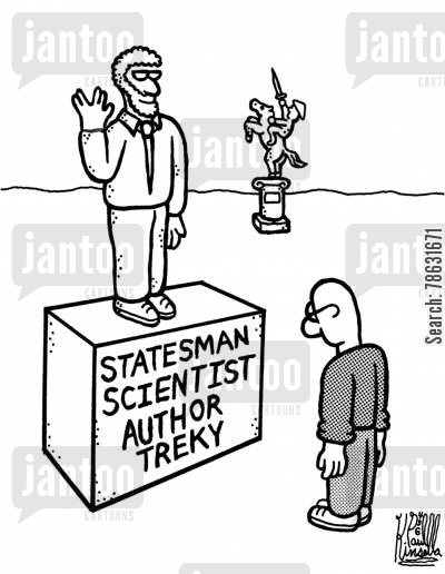 monument cartoon humor: Statesman, Scientist, Author and Treky.