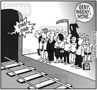 subway trains cartoon humor: 'Eeeny, meeny, mine.'