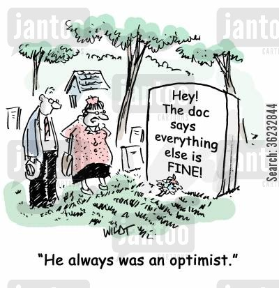 good attitude cartoon humor: 'He always was an optimist.'