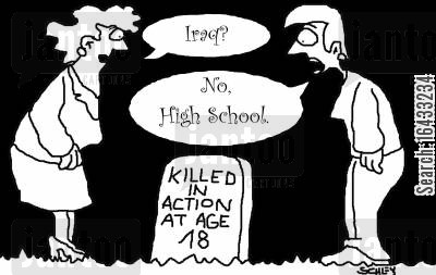 bear arms cartoon humor: Killed in Action at Age 18.