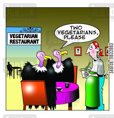 buzzards cartoon humor: Two vegetarians please.