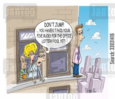 suit and tie cartoon humor: Don't jump. . . you haven't paid your five bucks for the office lottery pool yet!