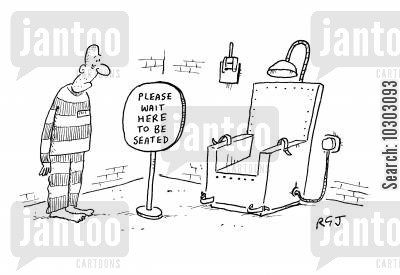 electric chairs cartoon humor: Please Wait Here to be Seated.
