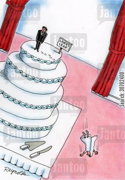 cake toppers cartoon humor: Bride and Groom Cake Toppers Next To Sign Reading 'Lover's Leap' - Bride Jumps.