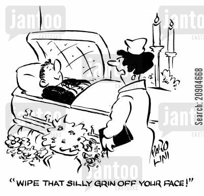 highly strung cartoon humor: 'Wipe that silly grin off your face!'