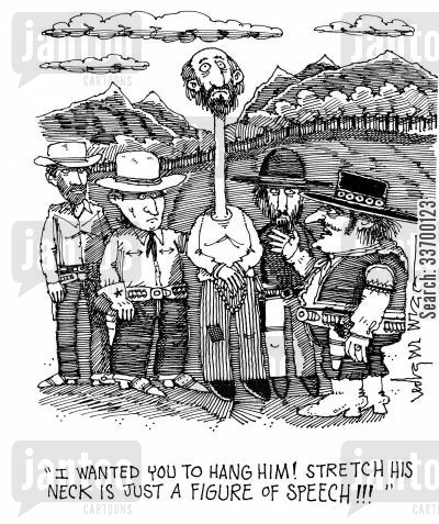 figure of speech cartoon humor: 'I Wanted You To Hang Him! Stretch His Neck Is Just A Figure Of Speech!!!'