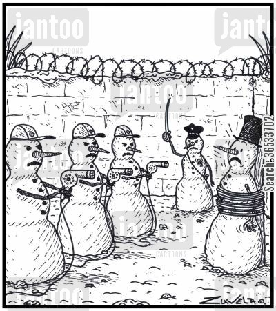 death sentences cartoon humor: Visual Gag Snowman's execution by hairdryers