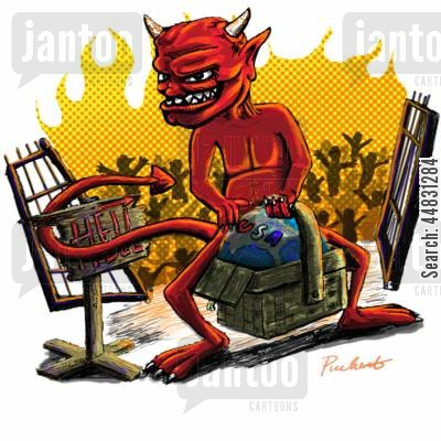 hell in a handbasket cartoon humor: The devil taking the world to hell in a handbasket . . . .