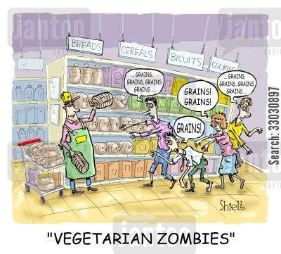 health food cartoon humor: 'VEGETARIAN ZOMBIES' colour