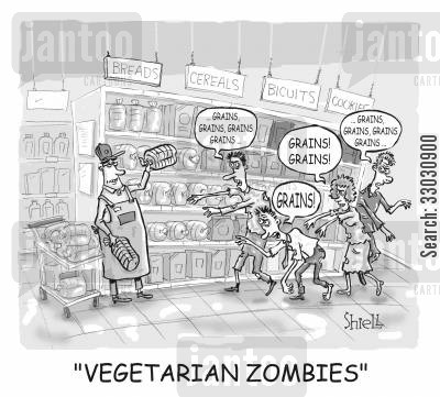 pulse cartoon humor: 'VEGETARIAN ZOMBIES' BW