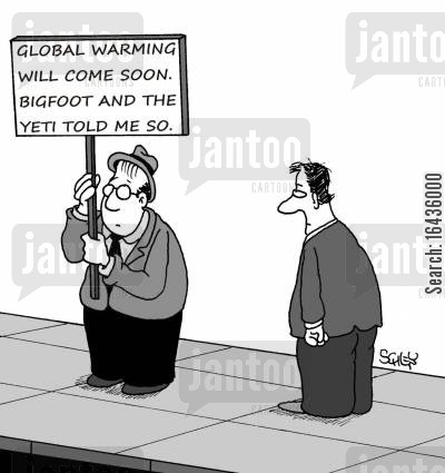 abominable snowman cartoon humor: Global warming will come soon. Bigfoot and the Yeti told me so.