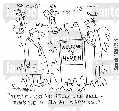 angelical cartoon humor: 'Yes, it looks and feels like hell - that's due to global warming.'
