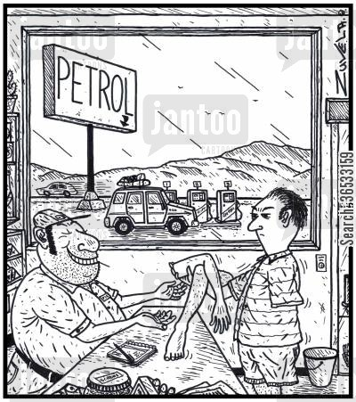arm and a leg cartoon humor: A customer angry about the cost of petrol costing an arm and a leg, handing over his arm and a leg to a greedy petrol station owner.