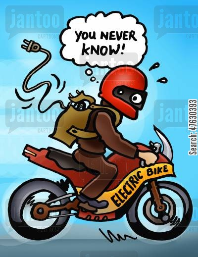 chopper cartoon humor: Electric bike.