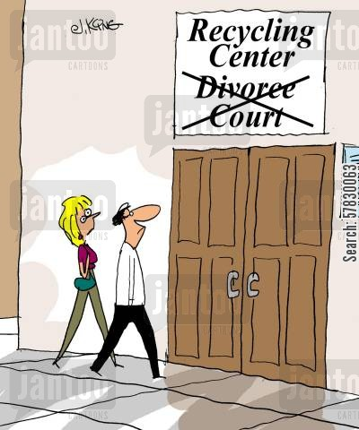 breaking-up cartoon humor: Recyling Center.