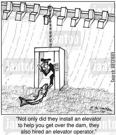 dam building cartoon humor: 'Not only did they install an elevator to help you get over the dam, they also hired an elevator operator.'
