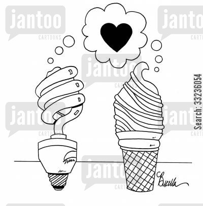 energy saving light bulbs cartoon humor: CFL bulb and ice cream cone fall in love