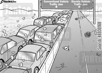 electric cars cartoon humor: Electric vehicle traffic jam.