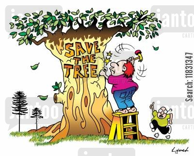greenhouse gases cartoon humor: Save the Trees.
