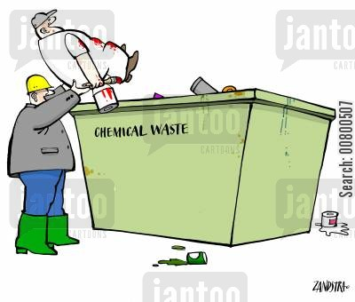 rubbish dumps cartoon humor: Chemical Waste Disposal.