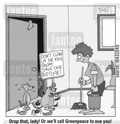 tidied cartoon humor: 'Drop that, lady! Or we'll call Greenpeace to sue you!'