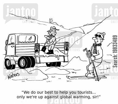 heatwave cartoon humor: 'We do our best to help you tourists...only we're up against global warming,sir!'