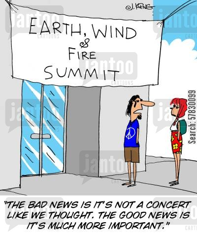 summit cartoon humor: 'The bad news is it's not a concert like we thought. The good news is it's much more important.'