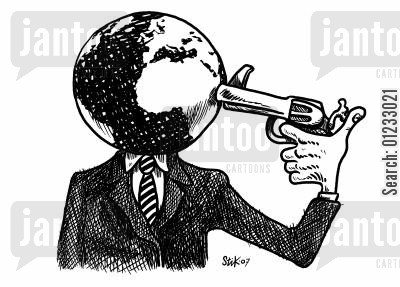 green issues cartoon humor: Planet suicide.