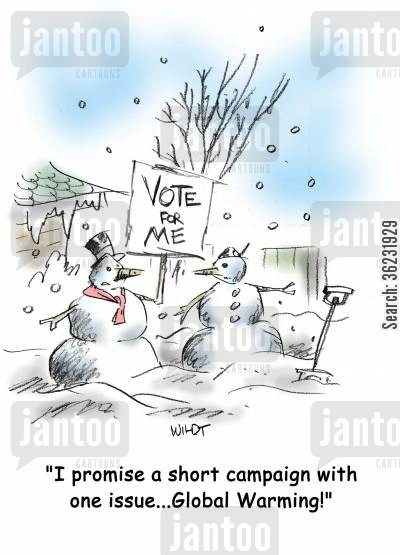 green issues cartoon humor: I promise a short campaign with one issue...Global Warming!