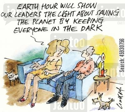 save the world cartoon humor: Earth Hour will show our leaders the light about saving the planet by keeping everyone in the dark...