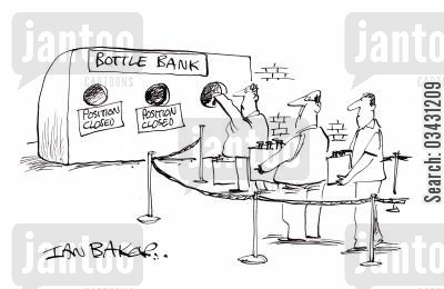 in line cartoon humor: Bottle Bank.