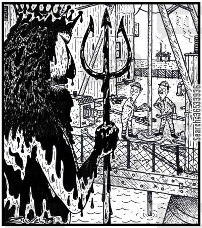 gulf cartoon humor: An angry crude oil soaked King Neptune about to reap vengeance on two Oil Rig workers for the leak they have just created.