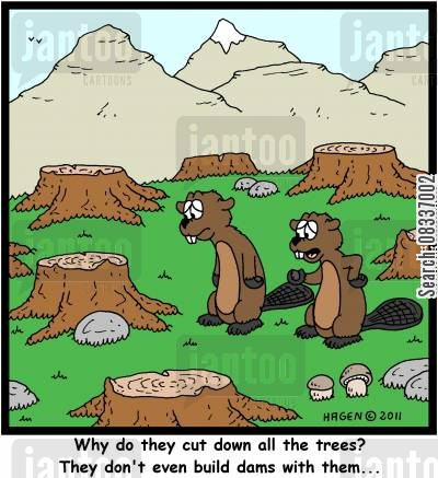 dam cartoon humor: 'Why do they cut down all the trees? They don't even build dams with them...'