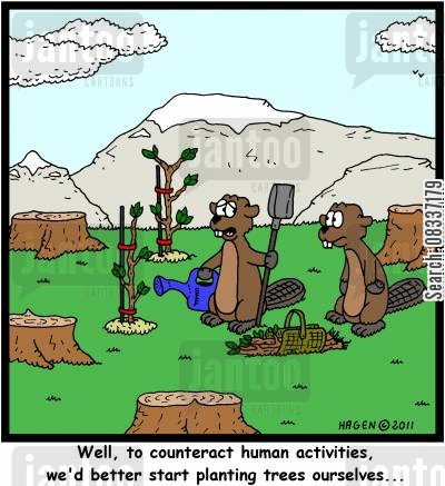 sustainable cartoon humor: 'Well, to counteract human activities, we'd better start planting trees ourselves...'