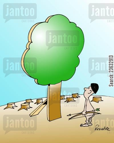 cut down trees cartoon humor: Forest.
