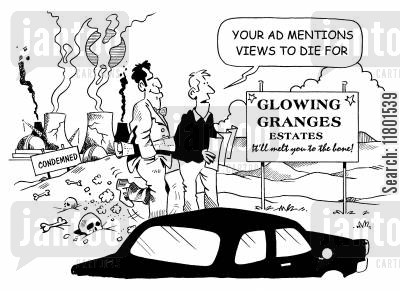 dishonesty cartoon humor: Your ad mentions views to die for!