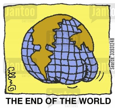 buttocks cartoon humor: The end of the world.
