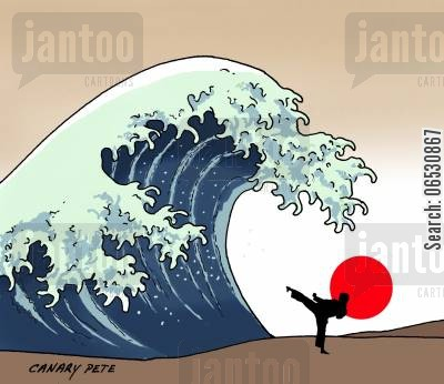 natural disaster cartoon humor: Tsunami Japan